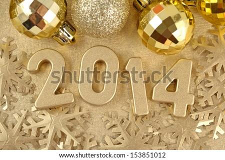 2014 year golden figures - stock photo