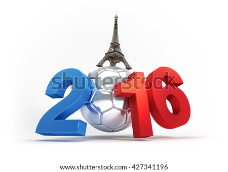 2016 year illustrated with a silver soccer ball, French flag colored - 3D illustration isolated on white - stock photo