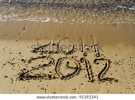2012 year is coming on the beach of Eilat, Israel - stock photo