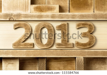 2013 year made of wood - stock photo