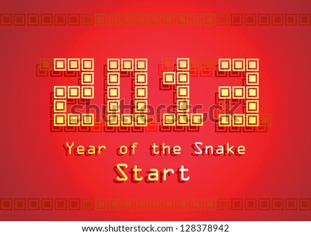 2013 Year of the Snake design. Illustration - stock photo