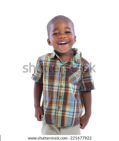 2 year old african american boy smile expression standing wear casual outfit isolated on white background