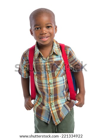 3 year old baby boy standing wear casual outfit carrying backpack isolated on white background