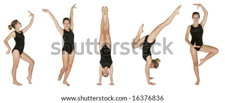 12 year old caucasian girl in several gymnastics poses - stock photo