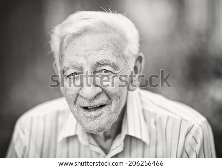90 year old elder senior man black and white portrait - stock photo
