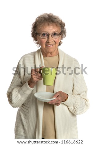 80 Year Old Elderly Senior Holding Coffee Cup Smiling Isolated on White Background - stock photo