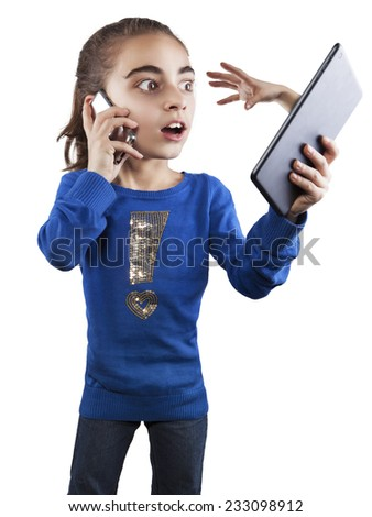 10 year old girl and technology - stock photo
