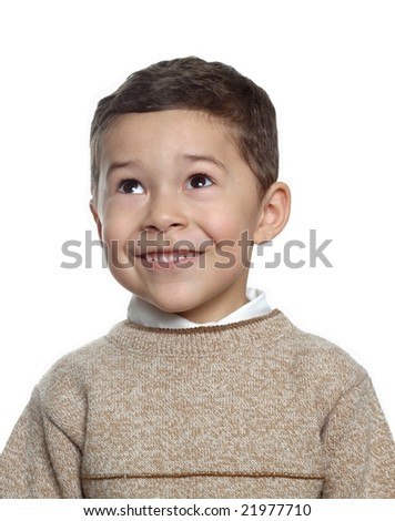5 year old hispanic boy with tan sweater - stock photo