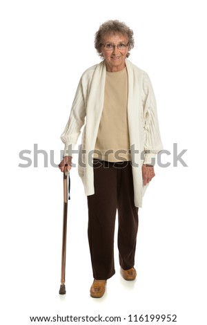 80 Year Old Woman Walking with Cane Isolated on White Background - stock photo