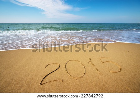 2015 year on the sea shore. Element of design. - stock photo