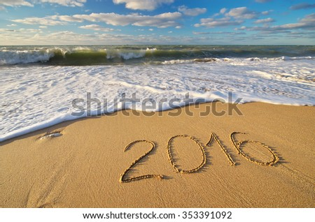 2016 year on the sea shore. Element of design. - stock photo