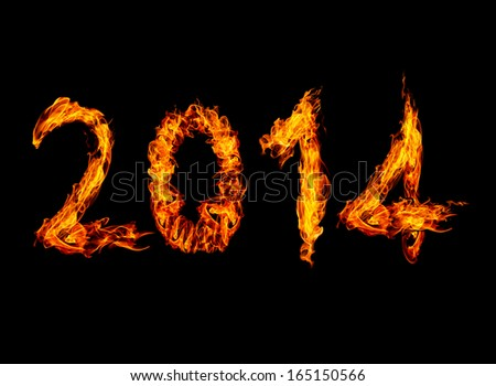 2014 year text High resolution fire collection isolated on black background - stock photo