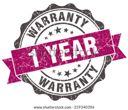 1 year warranty grunge violet seal isolated on white - stock photo