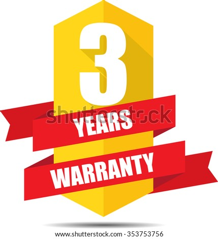 3 Year Warranty Promotional Sale Yellow Sign, Seal Graphic With Red Ribbons. A Specified Period Of Time. - stock photo
