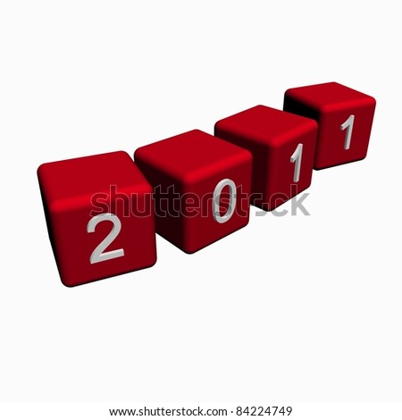 2011 year  white background - stock photo