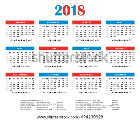 2018 Yearly Calendar American Colors Federal Stock Illustration