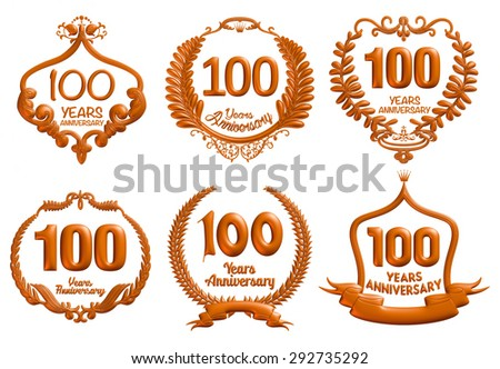 100 Years Anniversary badge collection in brown metallic 3D isolated white background.