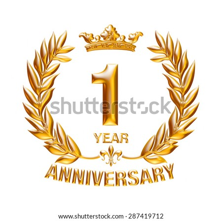 1 Years Anniversary golden badge on isolated white background.