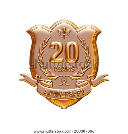 20 years anniversary golden label with ribbon, 3d Metallic illustration isolated on white. - stock photo
