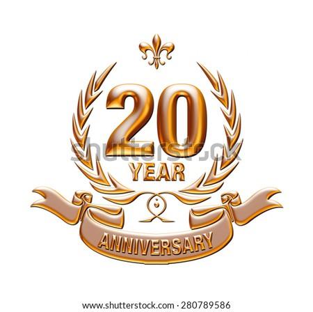 20 years anniversary golden laurel wreath with Golden Ribbon - stock photo