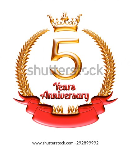 5 Years Anniversary Golden Red Ribbon Stock Illustration 292899992