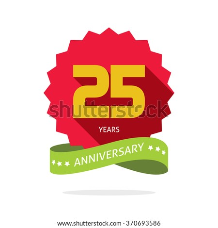 25 years anniversary label logo, shadow on circle, number 25 (two five), 25th years anniversary icon. Twenty fifth birthday party symbol, promotion sale sticker ribbon, poster, emblem image - stock photo