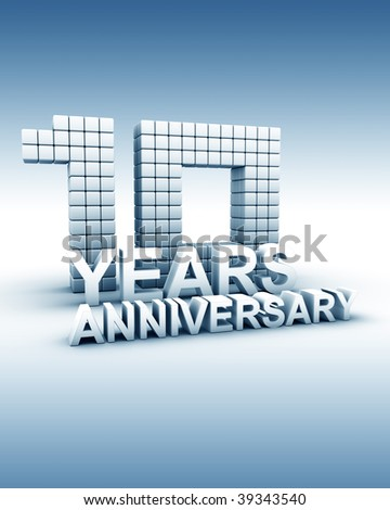 10 years anniversary word 3d illustration - stock photo