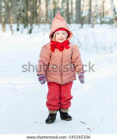 2 years  child in winter day - stock photo
