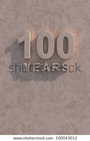 100 years 3d text with shadow and copy space - stock photo