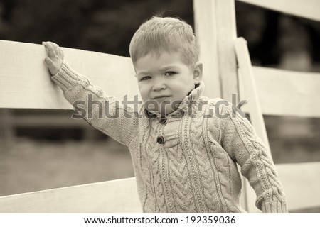 2 years old Baby boy on the a white picket fence beside the horse on sepia brown color - stock photo