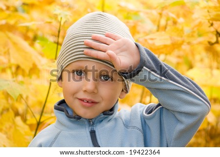 3 years old boy gesturing in autumnal scenery - stock photo