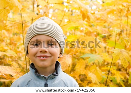 3 years old boy smiling in autumnal scenery - stock photo