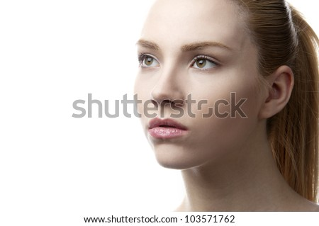 18 years old fashion female model at white background - stock photo