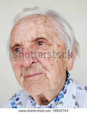 95 years old german woman smiling - stock photo