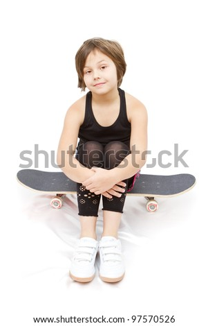 8 years old girl isolated on white - stock photo