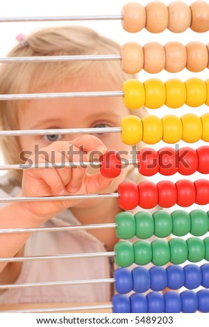 4 years old girl with abacus at desk isolated on white - stock photo