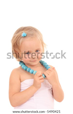 4 years old girl with blue accesories isolated on white