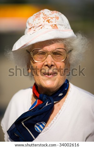 86 years old pencioneer woman sunny portrait