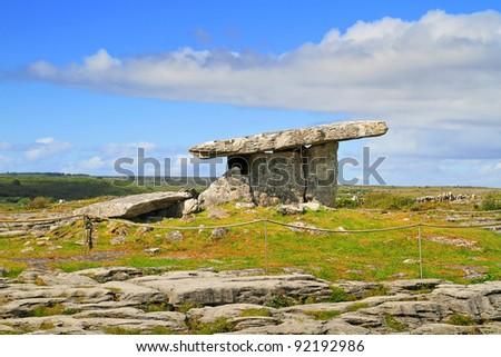 5 000 years old Polnabrone Dolmen in Burren, Ireland - stock photo