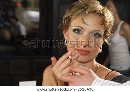 40 years old woman with cigarette 3 - stock photo