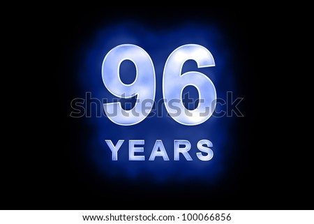 96 years text with blue glow on black background - stock photo