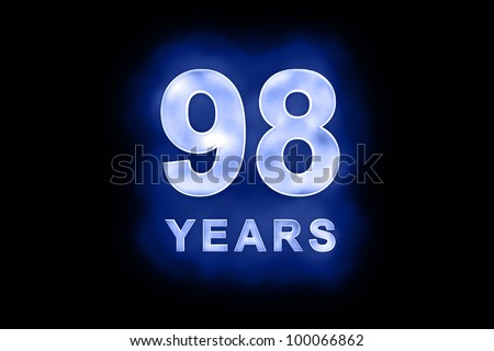 98 years text with blue glow on black background - stock photo