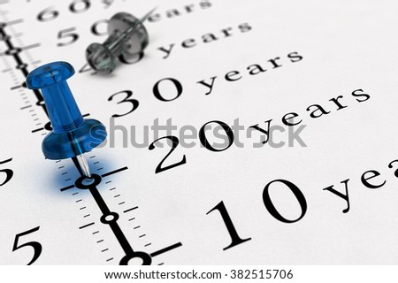 20 years written on a paper with a blue pushpin, concept image for business vision or long term prospective. - stock photo