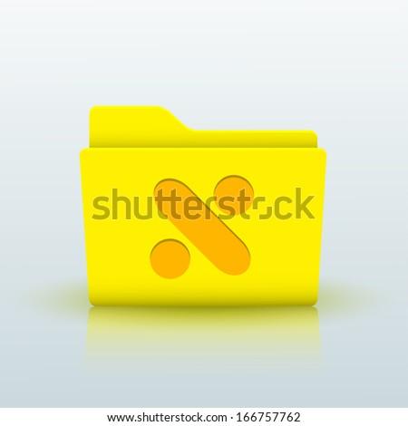 yellow folder on blue background - stock photo