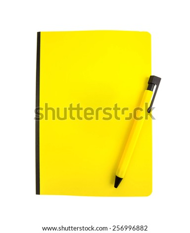 Yellow notebook and pen isolated on the white - stock photo