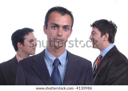 3 young business men portrait on white... - stock photo