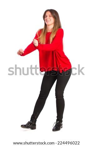 young cool girl dancing - stock photo