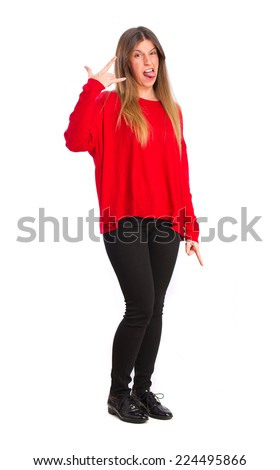 young cool girl disagree gesture - stock photo