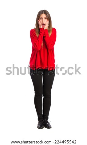 young cool girl surprised - stock photo
