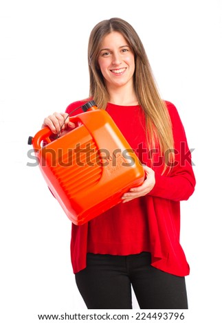 young cool girl with gas can